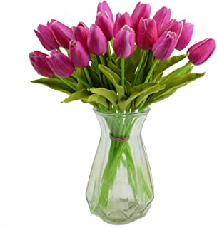 Packozy 20 pcs PU Real-Touch Artificial Tulip Flowers 13.4