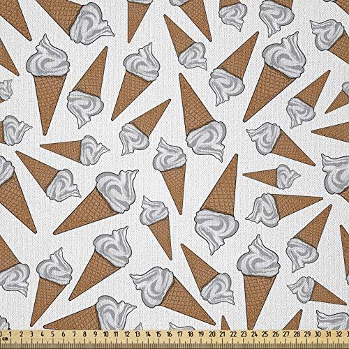 ABAKUHAUS Sucré Tissu au mètre, Délicieux Désert Gelato, Tissu Satin Décoratif pour Les Textiles de Maison et Les Artisanats, 10M (230x1000cm), Perle Pale Caramel
