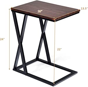 Tangkula Sofa Side Table, X-shaped Snack Table End Table, Coffee Tray Laptop Table Wood Look Finish & Metal Frame, Over bed Table, Portable Table for for Notebook Tablet Living Room Bedroom (1, Brown)