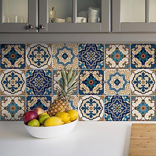 Paquete de 12 pegatinas de PVC para decoración de azulejos, de vinilo para baño y cocina, 15 x 15 cm, fabricadas en Italia - PS00029