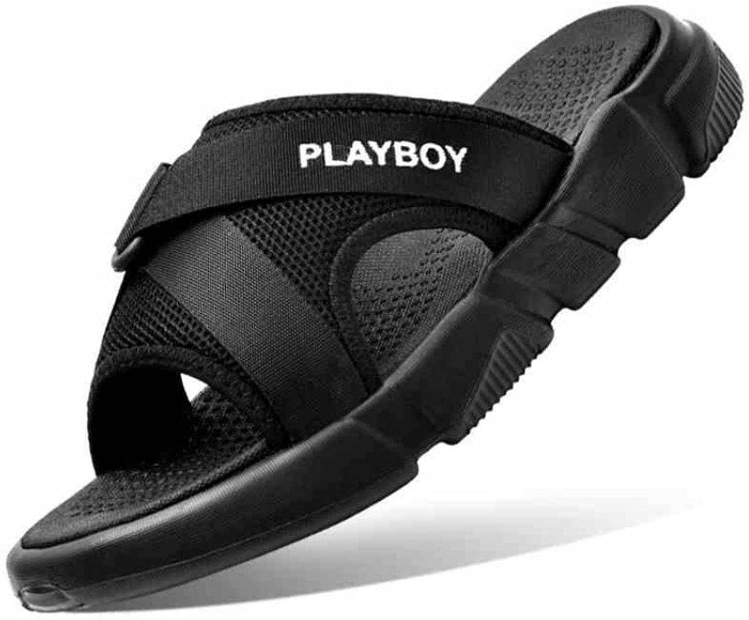 CHENGXIAOXUAN Men's Slippers Flip-Flops Korean Thick Sole Non-Slip Outdoor Sandals Boy Casual Sandals Cross Strap Slip Sandals