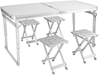 4 ft Folding Table Tiptiper Portable Picnic Table with 4 Aluminum Stools, Camping Table for Utility Outdoor Use