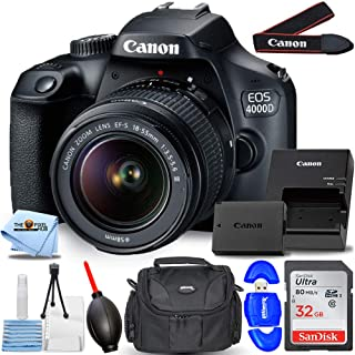 Canon EOS 4000D / Rebel T100 with EF-S 18-55mm III Lens Starter Bundle with 32GB SD, Memory Card Reader, Gadget Bag, Blowe...