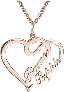 SOUFEEL Personalized Name Necklaces for Women Heart Shaped Nameplate Pendant 925 Sterling Silver Customized with Two Names...