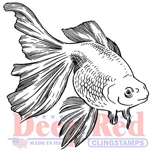 Deep Red Goldfish Rubber Cling Stamp