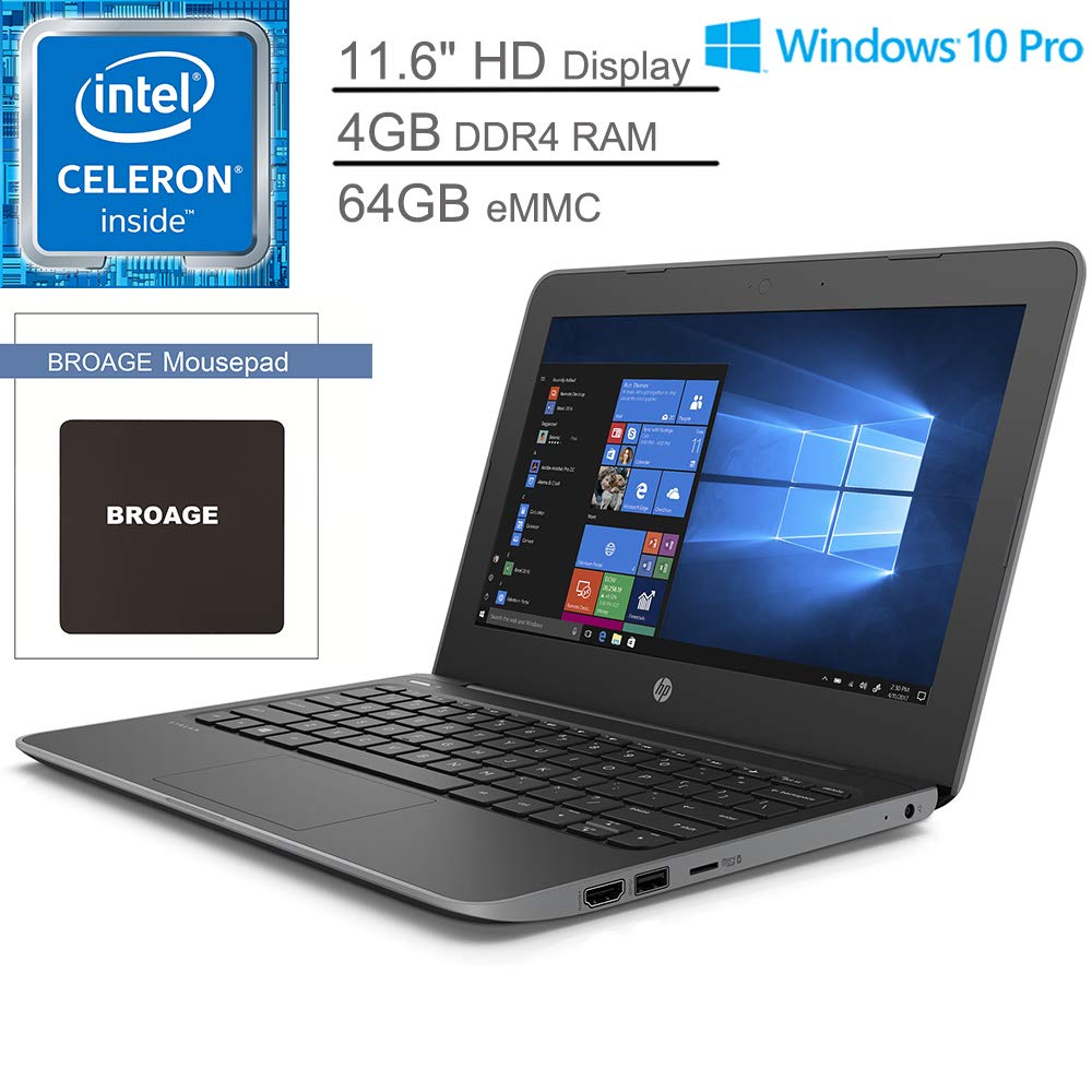 "HP Stream 11 Pro G5 11.6"" Laptop Computer for Business or Education_ Intel Celeron N4000 up to 2.6GHz_ 4GB DDR4 RAM, 64GB eMMC_ 802.11AC WiFi, Bluetooth 5.0_ Grey_ Windows 10 Pro_ BROAGE Mouse Pad"