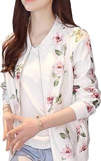 RkBaoye Women Casual Baggy Long-Sleeve Zip-Up Floral Pocket Outwear Jacket