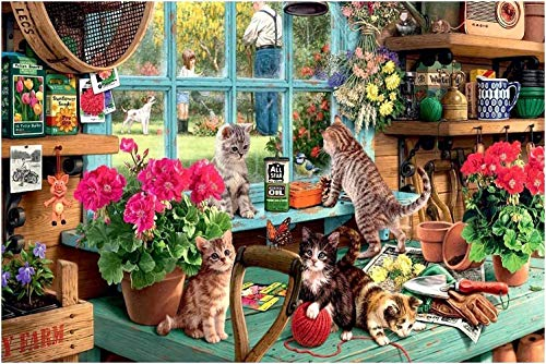 Puzzle de 1000 Piezas - Windowsill Cat - Adultos, Adolescentes, niños, Rompecabezas Grande, Juguetes, Regalo, Educativo, Intelectual, descompresión, Divertido Juego Familiar