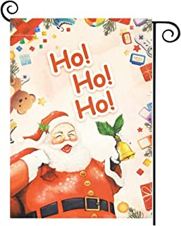 HILUCK Home Garden Flag Ho Ho Ho Santa with Bell Gift Bag, Burlap Vertical Double Sided for Winter Merry Christmas Yard Pa...