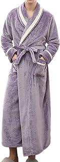 Rikay Men's Colorblock Soft & Cosy Coral Fleece Dressing Gown Long Sleeve Bathrobe Towelling Robe Towel Nightwear