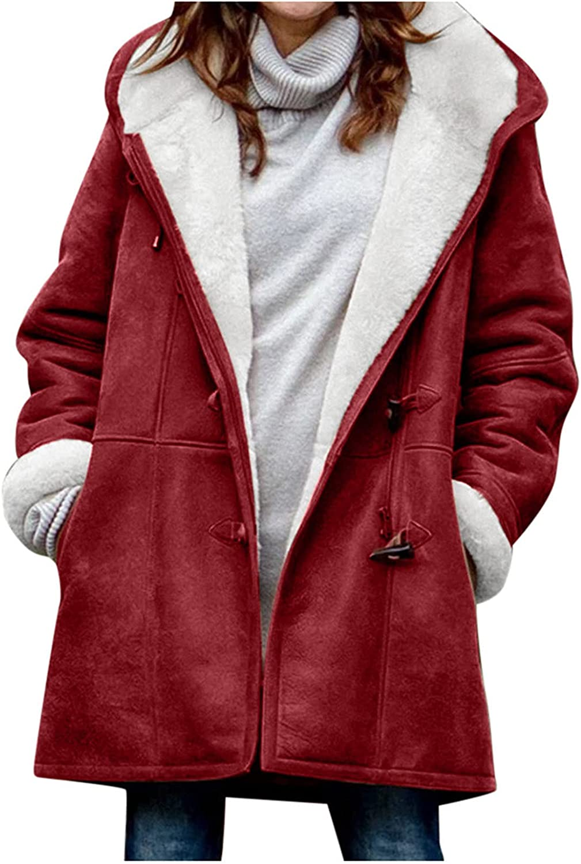 Women Lapel Faux Fur Coat Hooded Fleece Lined Jacket With Pocket