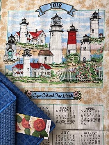 2018 Cape Cod Lighthouse Kitchen Dish Calendar, Kitchen Drying Mat, and Cook Book Bookmark 3 Piece Bundle