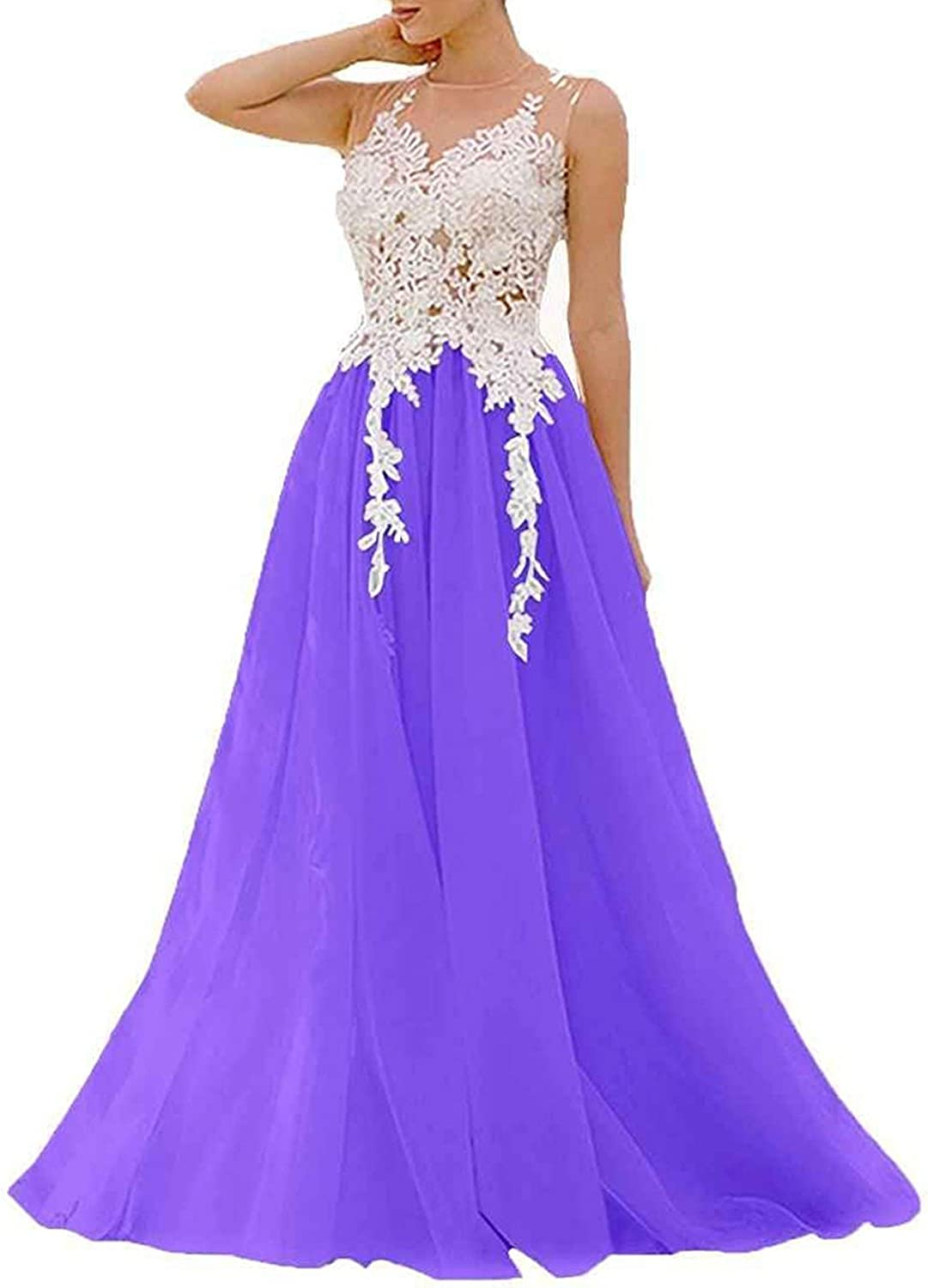 JQLD Women's Lace Applique Sleeveless High Neck Prom Bridesmaid Dresses Tulle Long Party Gowns