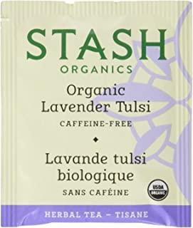 Stash Tea Organic Lavender Tulsi Herbal Tea 100 Count Tea Bags in Foil (Packaging May Vary) (Packaging May Vary) Individual Herbal Tea Bags for Use in Teapots Mugs or Cups, Brew Hot Tea or Iced Tea