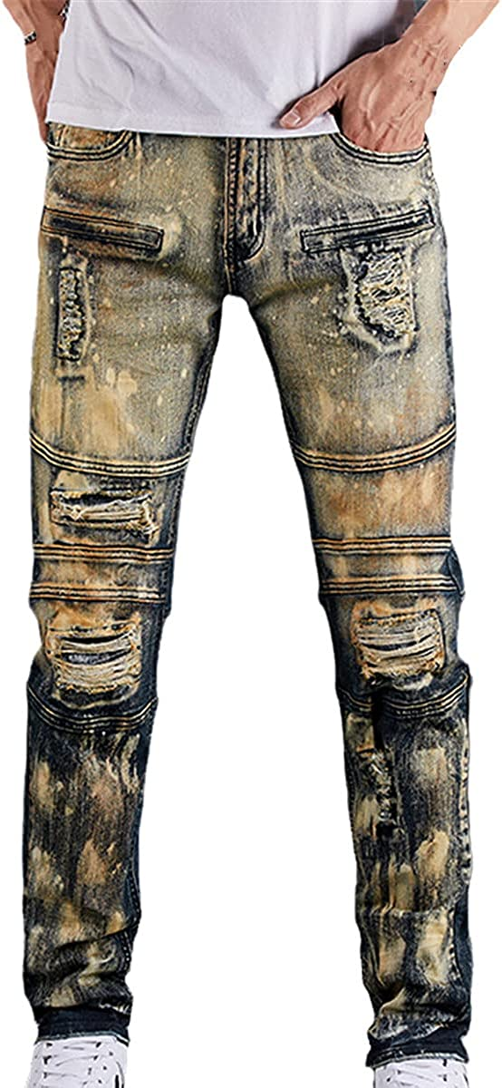 CACLSL Men's Fashion Motorcycle Denim Trousers Straight Casual Designer Broken Hole Comfortable high-end