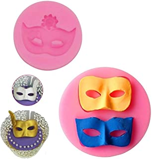 Mity Rain Mask Cake Fondant Mold, Mask Chocolate Silicone Molds for Cake Decorating Sugarcraft Candy Molds Polymer Clay Molds Cupcake Topper Decoration- Set of 2