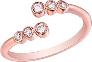 Clearance 0.15 Carat G-H/I1 Round Natural Diamond Bypass Ring, 10k Rose Gold, Size 5
