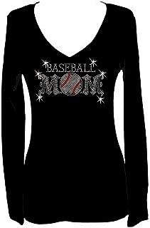 Baseball Mom Rhinestone Womens V Neck Long Sleeve Tee Shirt