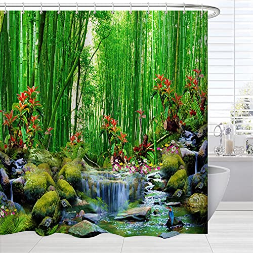 BROSHAN Bamboo Forest Shower Curtain Fabric, Summer Outdoor Forest Jungle Waterfall Rock Nature Scenery Bath Curtain, Green Landscape Bathroom Fabric Accessories Set with Hooks 72x72 Inch