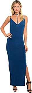 Imaginary Diva Sexy Teal Blue Party Cocktail Strappy Backless Double Thigh Slits Stretch Maxi Dress