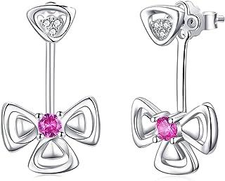 Ear Jacket Earrings for Women Sterling Silver Lucky Clover Flower Ear Cuffs Stud Leaf Earring Jewelry Christmas Birthday G...