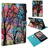TiKeDa Case for Amazon Fire HD 10 Tablet (7th Generation and 9th Generation,2017 and 2019 Release) - Slim Folding Stand Cover with Auto Wake/Sleep for 10.1 Inch Tablet (Color Tree)