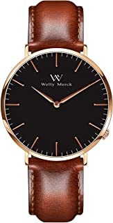 Welly Merck Women Leather Watch Minimalist Swiss Quartz Movement Sapphire Crystal Stainless Steel Analog Wrist Watch with Interchangeable Italian Leather Strap