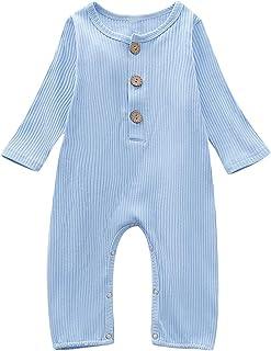 Haokaini Baby Mädchen Jungen ärmelloser Leinenoverall, Freizeitspielanzug mit Knöpfen, Spielanzug für Kleinkinder