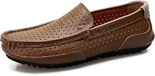 HaiNing Zheng Driving Loafer for Men Boat Moccasins Slip On Style OX Leather Low Top Pure Colors Round Toe Hollow Vamp (Color : Khaki, Size : 8.5 UK)