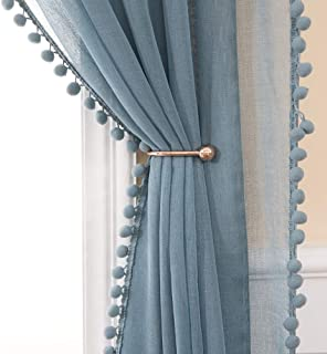 MIULEE Linen Textured Window Sheer Curtains with Pom Pom for Bedroom Living Room Semi Transparent Kids Voile Panels for Light Filtering W 54 x L 84 Inches 2 PCs Dusty Blue