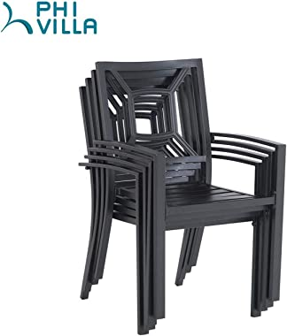 PHI VILLA Patio Dining Chair Metal Arm Chairs for Indoor & Outdoor, 2 Pack - Black