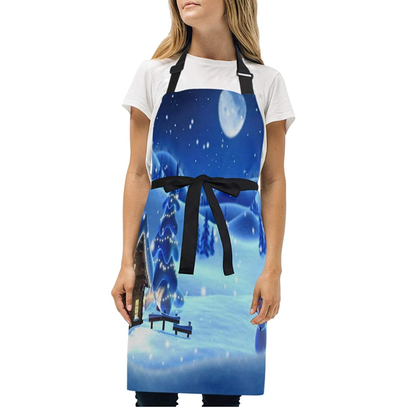 HJudge Womens Aprons Winter Snow Live Kitchen Bib Aprons with Pockets Adjustable Buckle on Neck