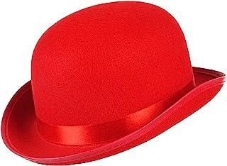 [MARRYME] 帽子 ダービーハット ボーラーハット シルクハット マジシャン 魔法師帽 紳士帽 ステージ衣装 仮装用品 メンズ レディース コスプレ コスチューム 舞台 演芸 レッド