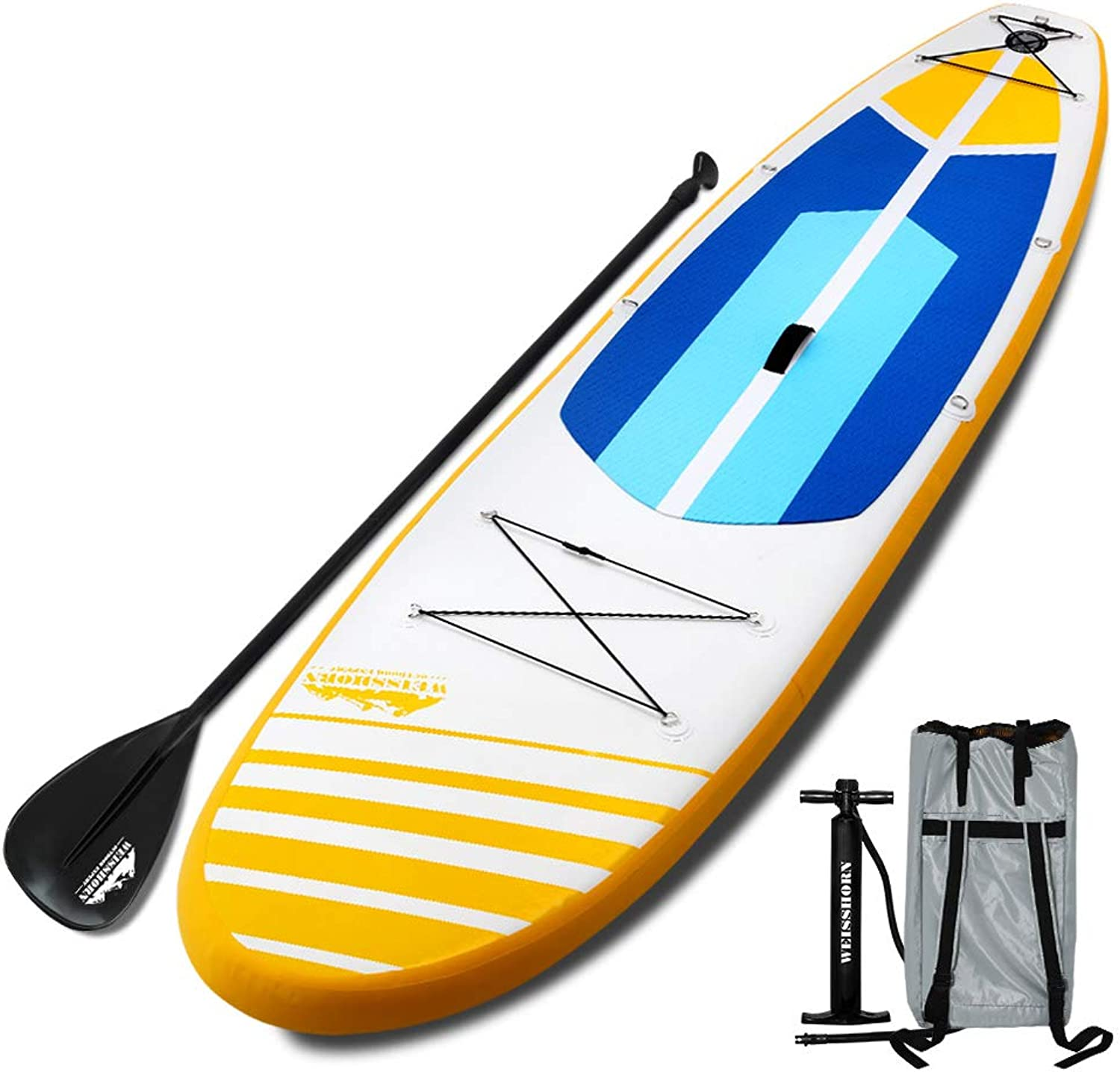 WEISSHORN 11FT Kayak with Pump Carry Bag Aluminium OarYellow and blueee
