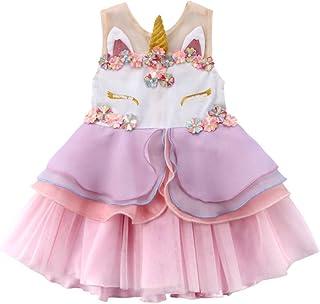 Carolilly Vestito Bambina Unicorno Principessa Abito da Sposa Fiore Senza Maniche in Tulle Damigella d'Onore (da 0-6anni)