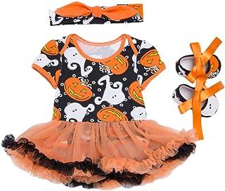 FENICAL Vestido de Mamelucos de Manga Corta con Disfraz de Calabaza de Halloween y Zapatos con Diadema para niñas pequeñas - para bebés de 3 a 6 Meses