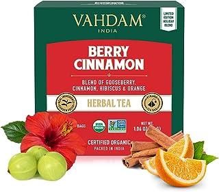 VAHDAM, Infusión Orgánica Bayas y Canela | Mezcla de Té Sin Cafeína, Té Detox | Ingredientes 100% Naturales – Extractos de...