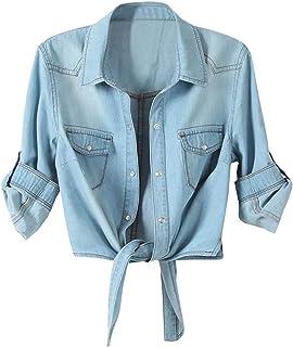 e24e665da07 LATUD Women s Roll Up Sleeves Crop Tie Top Denim Shawl Jeans Shirt
