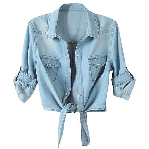 24a8494751b LATUD Women s Roll up Sleeves Crop Tie Top Denim Shawl Jeans Shirt