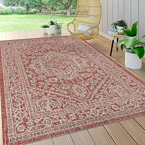 JONATHAN Y SMB101A-9 Sinjuri Medallion Textured Weave Indoor Outdoor Rug Bohemian Living Room Backyard,9 X 12,Red/Taupe