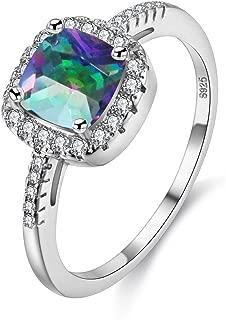 Women's CZ Crystal Square Engagement Rings Best Promise Rings Wedding Bands for Women KR002