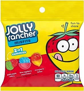 Jolly Rancher (1) Bag Misfits 2-in-1 Gummies Two Flavor Candy - Green Apple+Cherry, Blue Raspberry+Watermelon, Strawberry+Lemon 3.25 oz