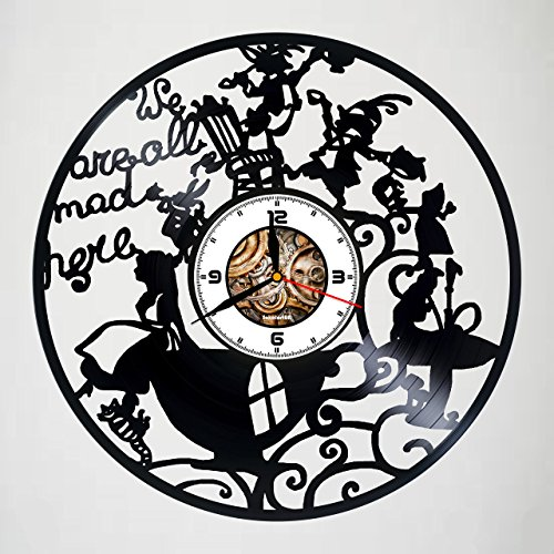 Alice in Wonderland - We`re All Mad Here - Handmade Vinyl Record Wall Clock - gift idea for girls boys sister and brother - home & office bedroom nursery room wall decor - customize your clock !