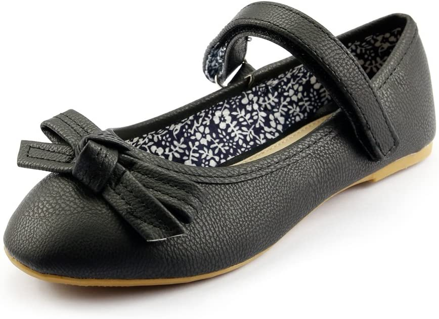 Girl's Youth Size 12 Strap School Dress Shoes Mary Jane Flat with Bow Black