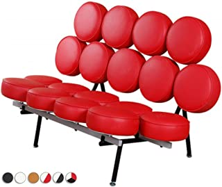 MLF® George Nelson Style Marshmallow Sofa in Premium Italian Leather (Red) (7 Colors)
