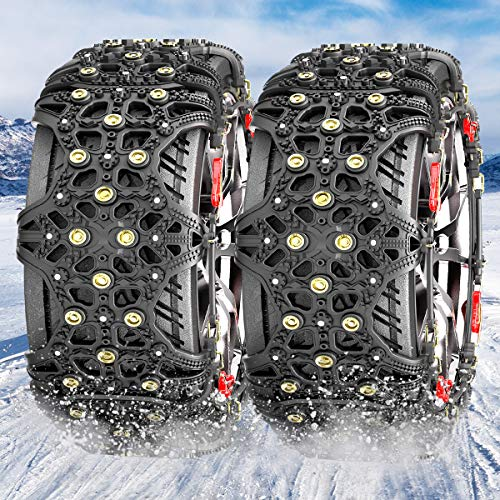 MATCC タイヤチェーン 非金属チェーン スノーチェーン 雪道・砂道・泥道 タイヤ滑り止め 冬の必需品 ジャッキアップ不要 取付簡単 タイヤフルカバー(タイヤ2本分) XF8 日本語説明書付き