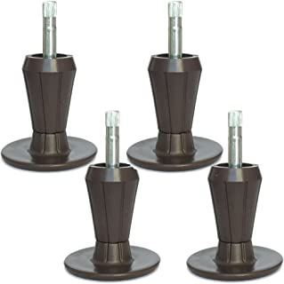 Home's Place Replacement Bed Frame Feet, 2-Piece Steel Stem Plastic Bed Frame Glide Legs To Replace Wheels, Set of 4