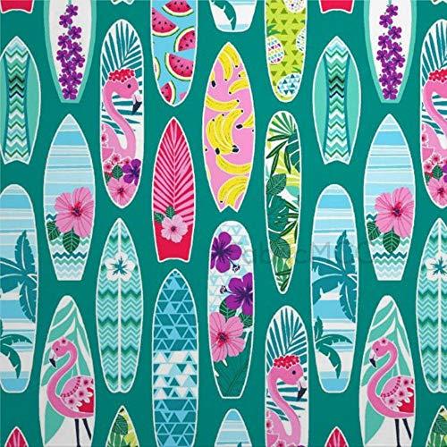 daoyiqi Juego de pegatinas decorativas para azulejos, playa de flamenco, tablas de surf, color verde azulado, 10,6 x 10,1 cm, 12 unidades de vinilo impermeable para decoración del hogar