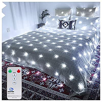 Ollny Led Net Mesh Fairy String Decorative Lights Low Vlotage - Christmas Tree-wrap Wedding Outdoor Party Garden Decorations 9.8ft x 6.6ft 200 LEDs 8 modes