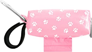 Doggie Walk Bags Dog Poop Bag Holder for Leash, Dog Waste Bag Dispenser with Metal Clip and Adjustable Strap for Any Leash with Tie Handle Bags